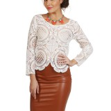 La Madeleine White Lace Zipper Top
